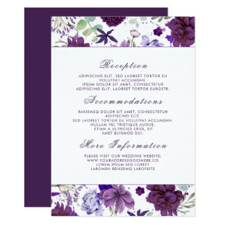 Plum Violet Flowers Wedding Information Guest Card
