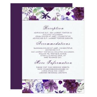Plum Violet Flowers Wedding Information Guest Card