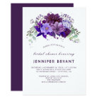 Plum Violet Purple Floral Elegant Bridal Shower Card
