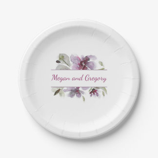 Plum Watercolor Flowers Elegant Wedding 7 Inch Paper Plate