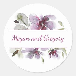 Plum Watercolor Flowers Elegant Wedding Classic Round Sticker