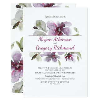 Plum Watercolor Flowers Romantic Garden Wedding Card