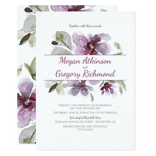 Plum Watercolor Flowers Romantic Garden Wedding Card