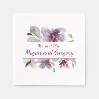 Plum Watercolor Flowers Wedding Paper Napkins