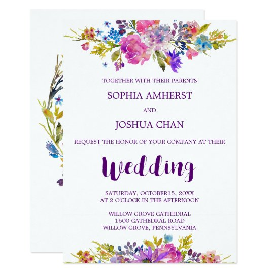 Plum Wedding Invitation Card with Monogram Backing
