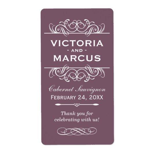 Plum Wedding Wine Bottle Monogram Favour Labels