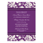 Plum White Damask Rehearsal Dinner Party Personalised Invitation