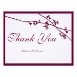 Plum Wild Flower Branches Wedding Thank You Personalised Invitation