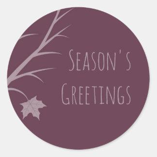 Plum Winter Season's Greetings Round Sticker