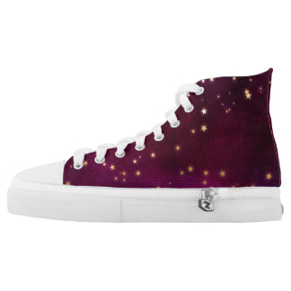 Plum with Gold Stars High Tops