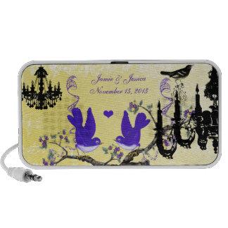 PLum & Yellow Vintage Love Birds Black Chandelier Mp3 Speaker