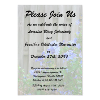 "plumbago against wooden fence flower image 5"" x 7"" invitation card"