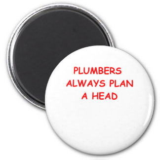 plumber 6 cm round magnet