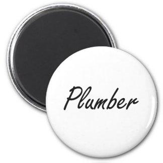 Plumber Artistic Job Design 2 Inch Round Magnet