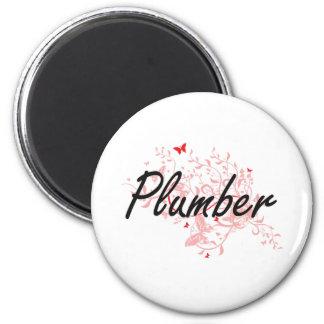 Plumber Artistic Job Design with Butterflies 6 Cm Round Magnet