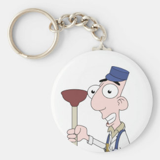 plumber basic round button key ring