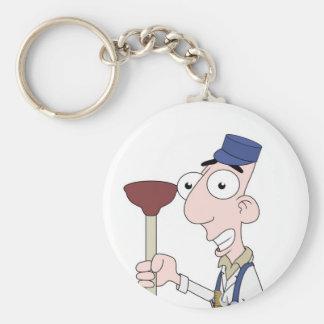 plumber basic round button key ring