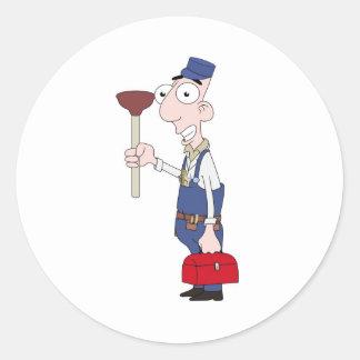 plumber classic round sticker