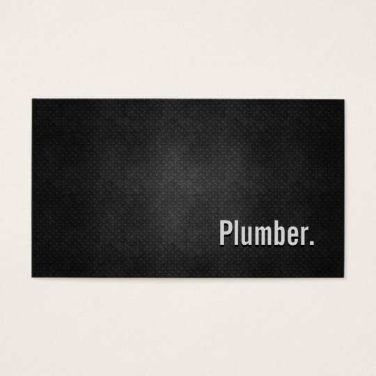 Plumber Cool Black Metal Simplicity Business Card