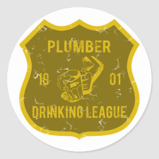 Plumber Drinking League Classic Round Sticker