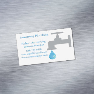 Plumber Faucet Water Drop Magnetic Business Cards