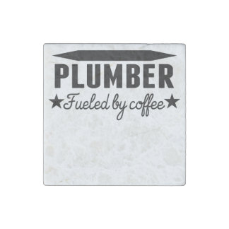 Plumber Fueled By Coffee Stone Magnet