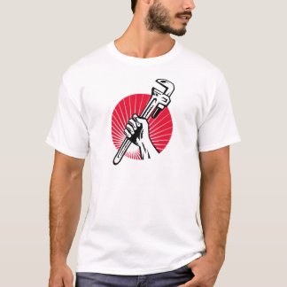 Plumber hand holding pipe wrench woodcut T-Shirt