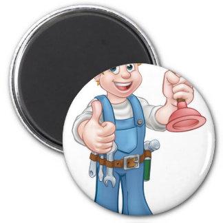 Plumber Handyman Holding Plunger 6 Cm Round Magnet