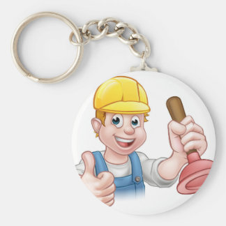 Plumber Handyman Holding Plunger Basic Round Button Key Ring