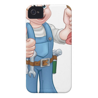 Plumber Handyman Holding Plunger iPhone 4 Case-Mate Cases