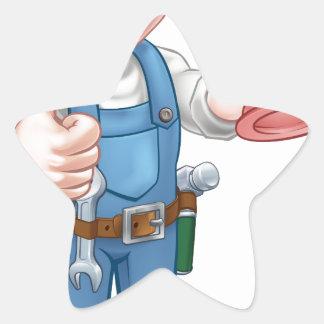 Plumber Handyman Holding Plunger Star Sticker