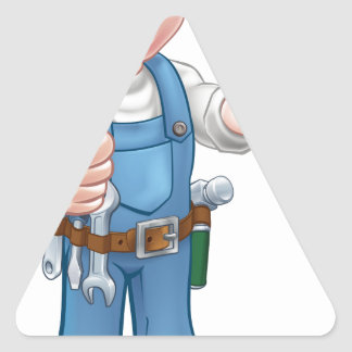 Plumber Handyman Holding Plunger Triangle Sticker