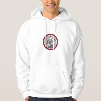Plumber Holding Giant Wrench Woodcut Circle Hooded Sweatshirts