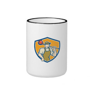 Plumber Holding Plunger Cartoon Coffee Mug