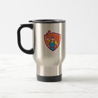Plumber Holding Plunger Up Shield Cartoon Coffee Mug