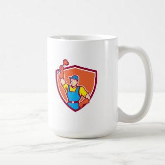 Plumber Holding Plunger Up Shield Cartoon Coffee Mugs