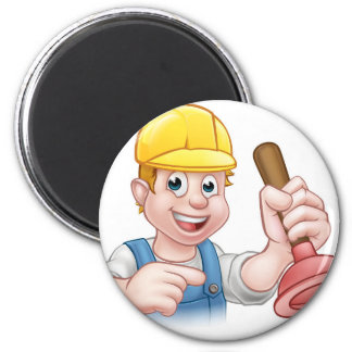 Plumber Holding Plunger with Hard Hat 6 Cm Round Magnet