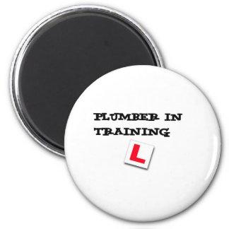 plumber in training 6 cm round magnet