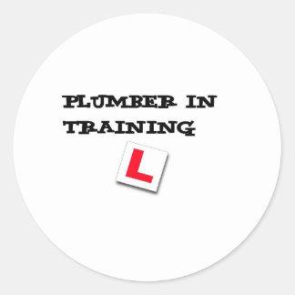 plumber in training classic round sticker