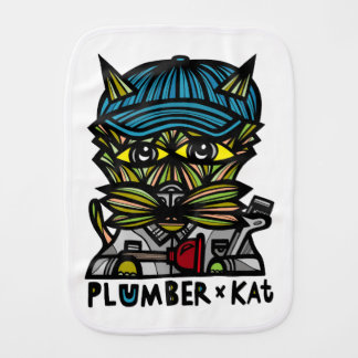 """Plumber Kat"" Burp Cloth"