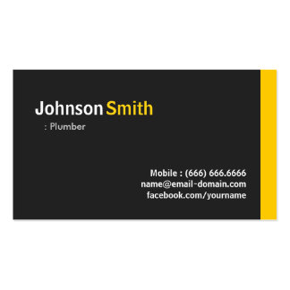 Plumber - Modern Minimalist Amber Pack Of Standard Business Cards