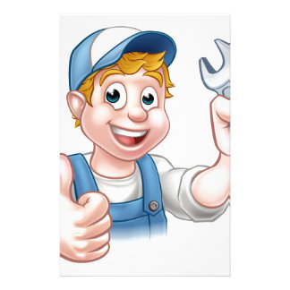 Plumber or Mechanic with Spanner Custom Stationery