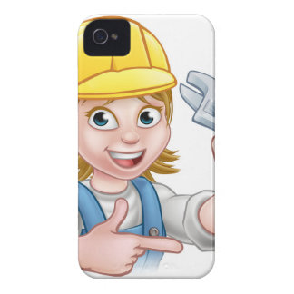 Plumber or Mechanic Woman Holding Spanner Case-Mate iPhone 4 Cases