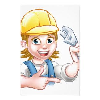 Plumber or Mechanic Woman Holding Spanner Custom Stationery
