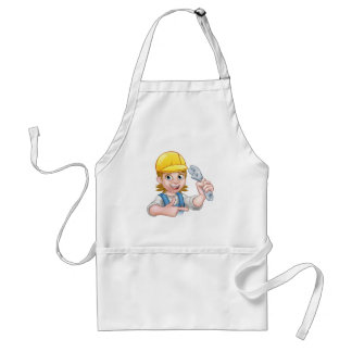 Plumber or Mechanic Woman Holding Spanner Standard Apron