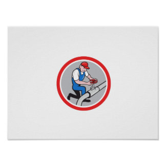 Plumber Pipe Worker Turning on Flow Circle Cartoon Posters