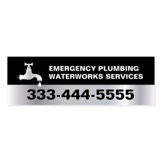 Plumber Plumbing Service Dark Silver Metal Look Pack Of Skinny Business Cards