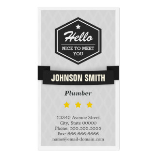Plumber - Say Hello in Retro Style Pack Of Standard Business Cards