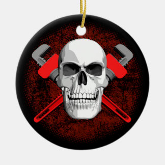 Plumber Skull and Wrenches Round Ceramic Decoration