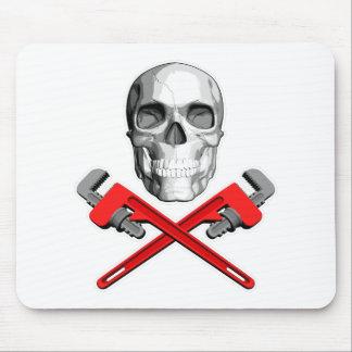 Plumber Skull: Crossed Wrenches Mousepad